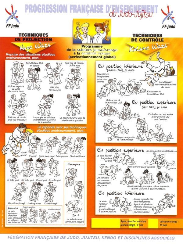 Planche technique ceinture jaune orange1